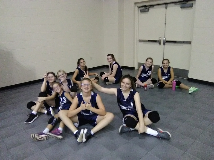 5,6, and 7th grade girls are ready for their game!