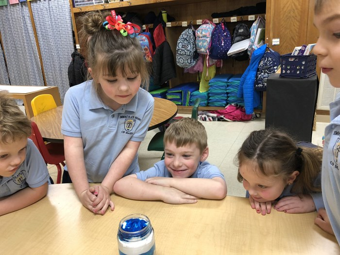 Kindergarten enjoyed learning about weather and creating weather in a jar.