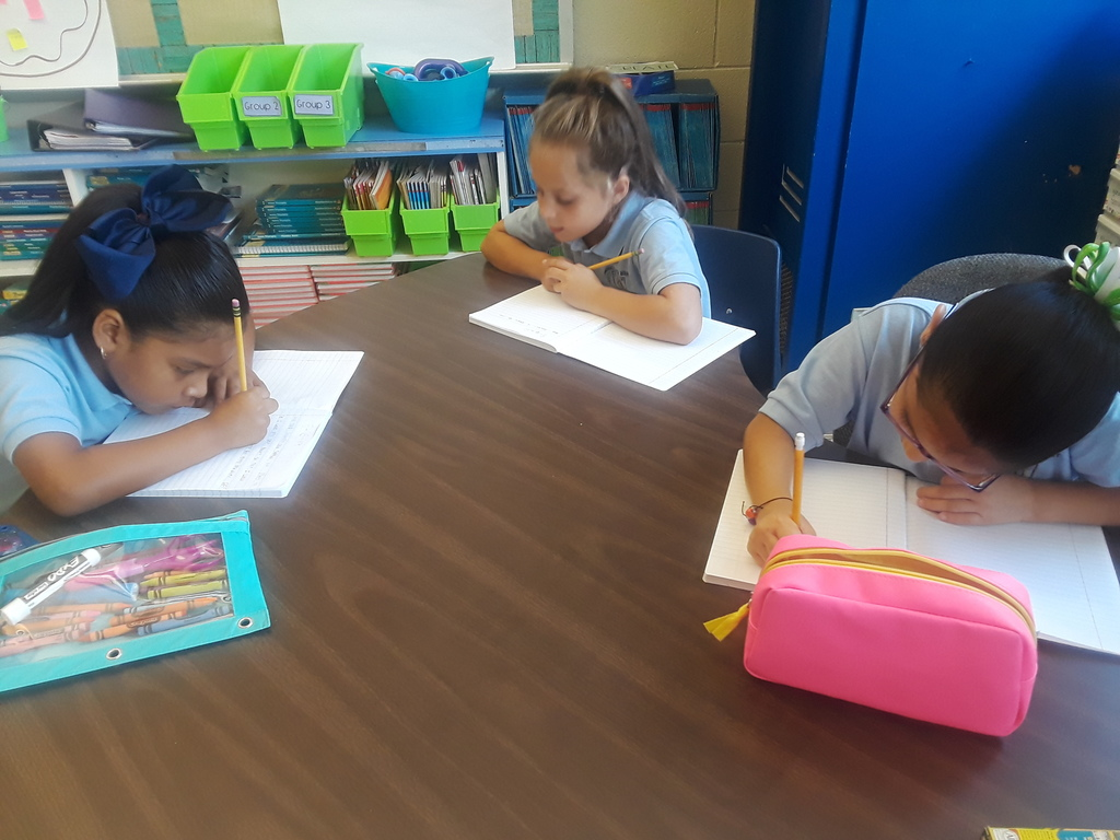 2nd graders writing in their journals