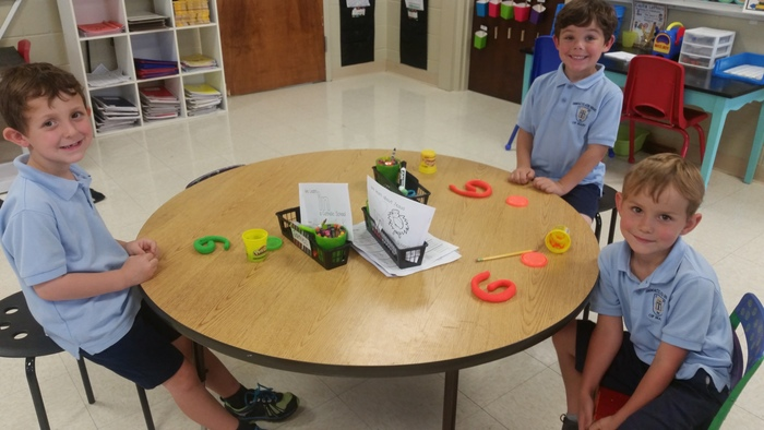Kindergarten loved creating alphabet letters with playdoh.