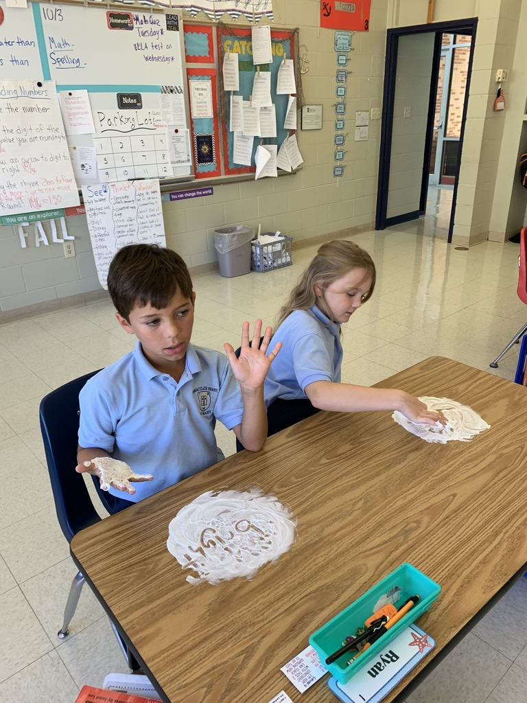 We love practicing our spelling words with shaving cream!