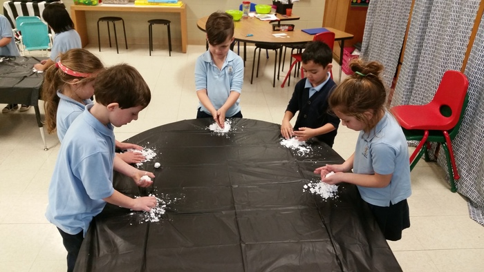 "Kindergarten enjoyed exploring ""snow"" as we studied The Snowy Day unit."