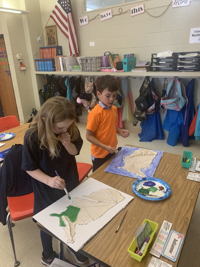 Grade 3 painting their US landform maps!